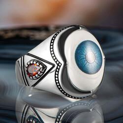 Mavi Göz Motifli Beyaz Taşlı 925 Ayar Gümüş Erkek Yüzük - Thumbnail