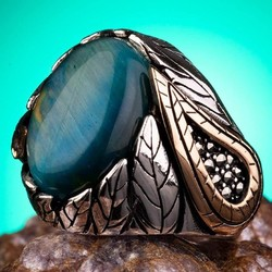 Anı Yüzük - Mavi Kaplangözü Taşlı Gümüş Erkek Yüzük