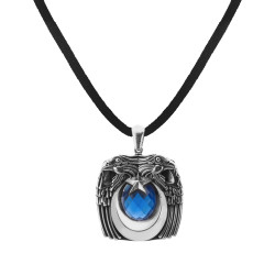Anı Yüzük - Mavi Taş Kartal Başlı Gümüş Erkek Kolyesi