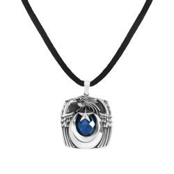 Anı Yüzük - Mavi Taşlı Ay Yıldızlı Kartal Başlı Gümüş Erkek Kolye
