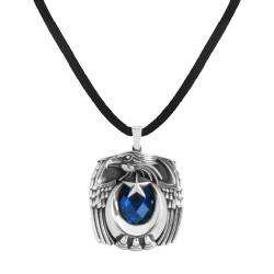 Anı Yüzük - Mavi Taşlı Kartal Başlı Pençeli Gümüş Erkek Kolye