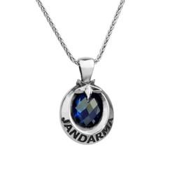 Anı Yüzük - Mavi Zirkon Taşlı Ay Yıldız Gümüş Jandarma Kolyesi