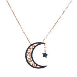 Mavi Zirkon Taşlı Gümüş Ay Yıldız Kadın Kolye - Thumbnail