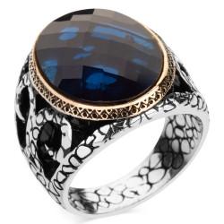 Anı Yüzük - Mavi Zirkon Taşlı Gümüş Erkek Yüzüğü