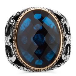 Mavi Zirkon Taşlı Gümüş Erkek Yüzüğü - Thumbnail