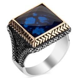 Anı Yüzük - Mavi Zirkon Taşlı Kare Tasarım Erkek Gümüş Yüzüğü