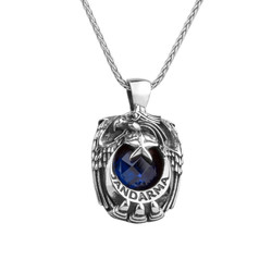 Anı Yüzük - Mavi Zirkon Taşlı Tek Kartal Başlı Gümüş Jandarma Kolyesi