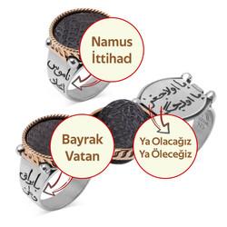 Mehmetçik Kutlu Zafer Dizisi Çift Taraflı Lisanslı Halil Paşa Yüzüğü - Thumbnail