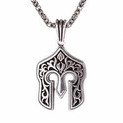 Anı Yüzük - Miğfer Uçlu 925 Ayar Gümüş Erkek Kolye Kral Zincirli