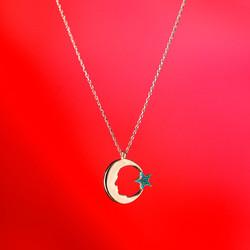 M.Kemal Atatürk Silüetli Ay Yıldız Bayan Kolye - Thumbnail