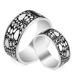 Anı Yüzük - Motifli Gümüş Alyans Çifti