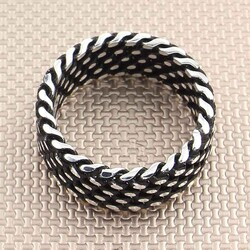 Noktalı Oksitli Örgü Model 925 Ayar Gümüş Tek Alyans - Thumbnail
