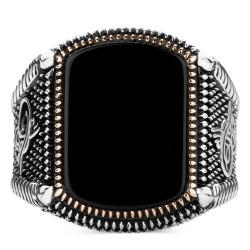 Doğal Siyah Oniks Taşlı Osmanlı Yüzüğü - Thumbnail