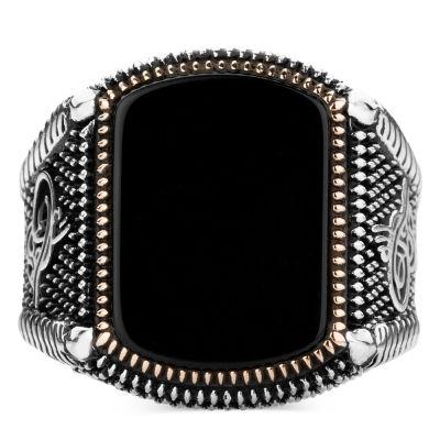 Doğal Siyah Oniks Taşlı Osmanlı Yüzüğü