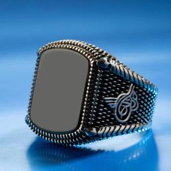 925 Ayar Gümüş Siyah Oniks Taşlı Tuğralı Erkek Yüzük - Thumbnail