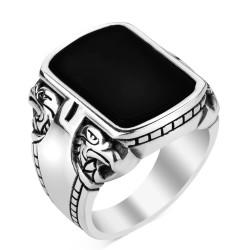 Anı Yüzük - Oniks Siyah Taşlı 925 Ayar Gümüş Yüzük