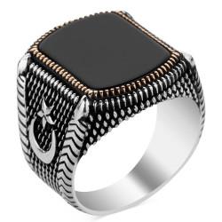 925 Ayar Gümüş Siyah Oniks Taşlı Ay Yıldızlı Erkek Yüzük - Thumbnail