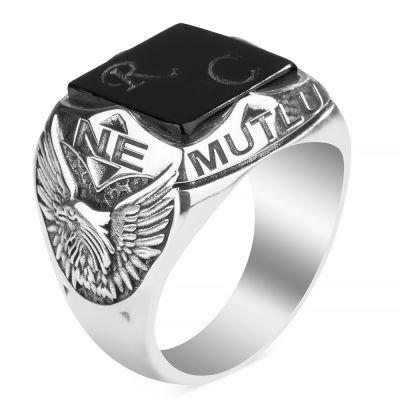 Oniks Taşlı Ne Mutlu Türküm Diyene Yüzüğü