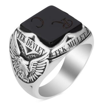Oniks Taşlı Tek Millet Tek Bayrak Yüzüğü