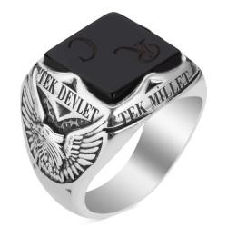 Oniks Taşlı Tek Millet Tek Bayrak Yüzüğü - Thumbnail