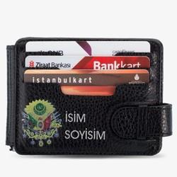 Anı Yüzük - Osmanlı Arması Baskılı İsim Yazılı Para Tokalı Cüzdan Siyah