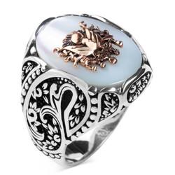 Anı Yüzük - Osmanlı Arması Kabartmalı Beyaz Sedef Taşlı Gümüş Yüzük