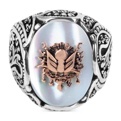 Osmanlı Arması Kabartmalı Beyaz Sedef Taşlı Gümüş Yüzük