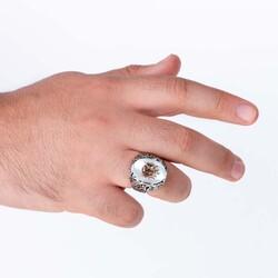 Osmanlı Arması Kabartmalı Beyaz Sedef Taşlı Gümüş Yüzük - Thumbnail