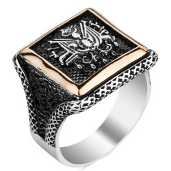 Anı Yüzük - Osmanlı Arması Motifli Kare Tasarım Erkek Gümüş Yüzüğü
