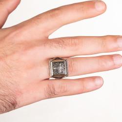 Osmanlı Arması Motifli Kare Tasarım Erkek Gümüş Yüzüğü - Thumbnail