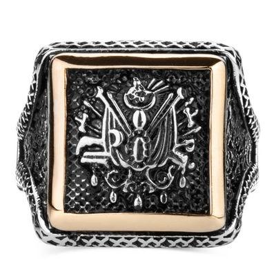 Osmanlı Arması Motifli Kare Tasarım Erkek Gümüş Yüzüğü