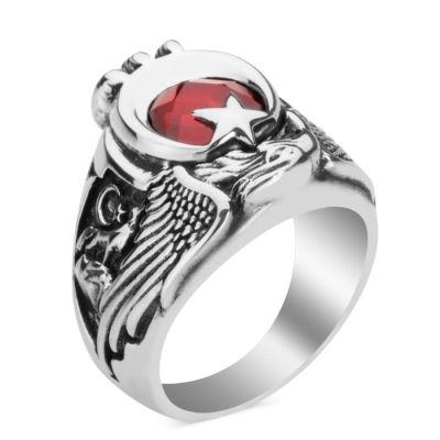 Osmanlı Arması ve Bozkurt Motifli Gümüş ÇSGB Yüzüğü