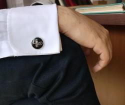 Osmanlı Tuğralı Gümüş Kol Düğmesi - Thumbnail