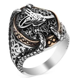 Anı Yüzük - Osmanlı Tuğralı Pençeli Taşsız Gümüş Erkek Yüzüğü