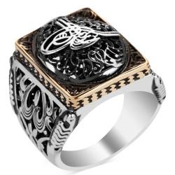 Anı Yüzük - Osmanlı Tuğrası Figürlü Taşsız Gümüş Erkek Yüzüğü