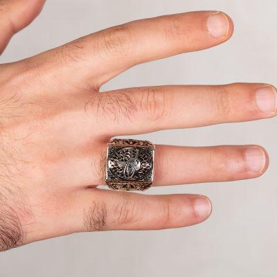 Osmanlı Tuğrası Figürlü Taşsız Gümüş Erkek Yüzüğü