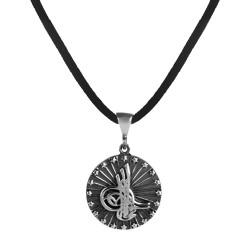 Anı Yüzük - Osmanlı Tuğrası Motifli Gümüş Erkek Kolye