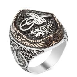 Anı Yüzük - Osmanlı Tuğrası Motifli Gümüş Erkek Yüzük