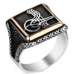 Anı Yüzük - Osmanlı Tuğrası Motifli Kare Tasarım Erkek Gümüş Yüzüğü
