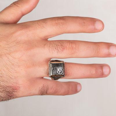 Osmanlı Tuğrası Motifli Kare Tasarım Erkek Gümüş Yüzüğü
