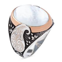 Anı Yüzük - Oval Beyaz Sedef Taşlı Simetrik Desenli Gümüş Erkek Yüzük
