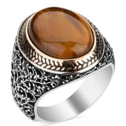 Oval Kahverengi Kaplangözü Taşlı Simetrik Desen Gümüş Erkek Yüzük - Thumbnail