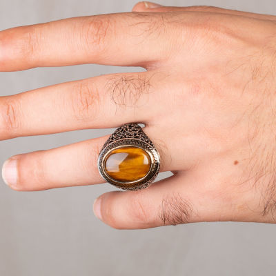 Oval Kahverengi Kaplangözü Taşlı Simetrik Desen Gümüş Erkek Yüzük
