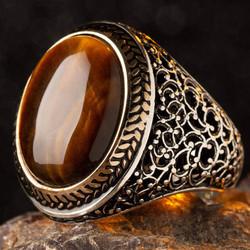 Anı Yüzük - Oval Kahverengi Kaplangözü Taşlı Simetrik Desen Gümüş Erkek Yüzük
