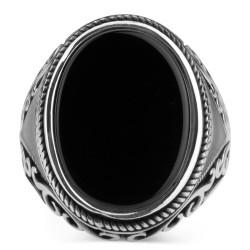 Oval Model Siyah Oniks Taşlı Erkek Yüzük - Thumbnail