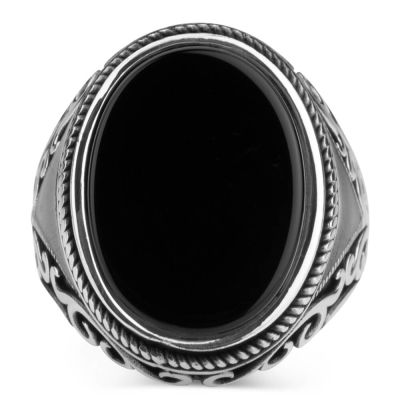 Oval Model Siyah Oniks Taşlı Erkek Yüzük