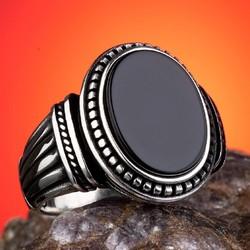 Anı Yüzük - Oval Siyah Oniks Taşlı 925 Ayar Gümüş Yüzük