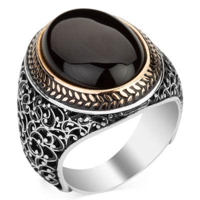 Oval Siyah Oniks Taşlı Simetrik Desen Gümüş Erkek Yüzük