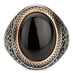 Oval Siyah Oniks Taşlı Simetrik Desen Gümüş Erkek Yüzük - Thumbnail