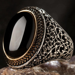 Anı Yüzük - Oval Siyah Oniks Taşlı Simetrik Desen Gümüş Erkek Yüzük